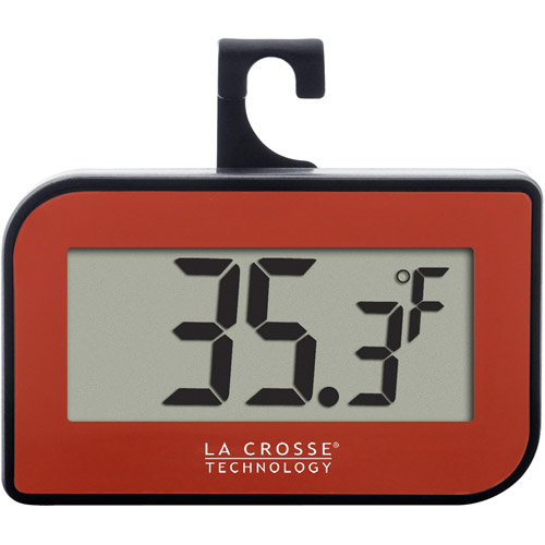 La Crosse Technology Digital Refrigerator-Freezer Thermometer with Hook, Red