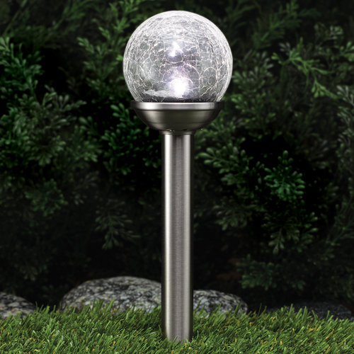 Westinghouse Crackle Solar Path Light, Stainless Steel