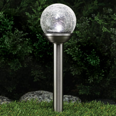 Westinghouse Crackle Solar Path Light Stainless Steel