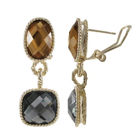 Gray Gemstone Earrings - Dlux Jewels Gold Plated Brass Omega Clip Earrings, Champagne & Grey Color