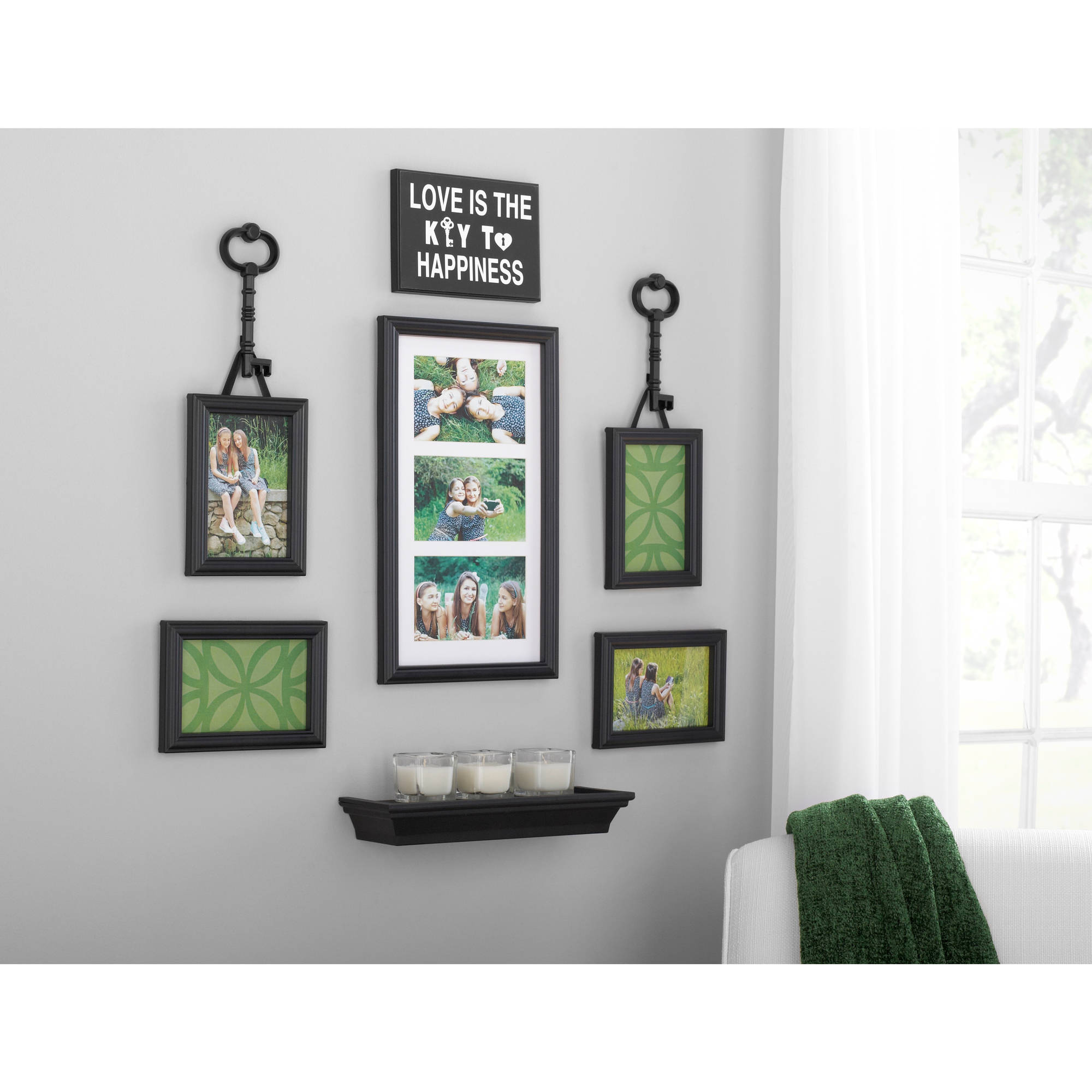 Mainstays 9 piece key expression wall frame set walmart jeuxipadfo Images