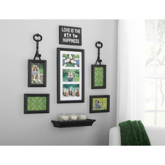 mainstays 9 piece key expression wall frame set. Black Bedroom Furniture Sets. Home Design Ideas