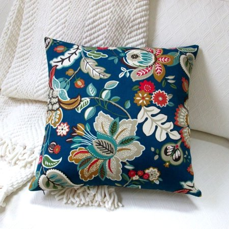 (Artisan Pillows 18-inch Indoor/Outdoor Telfair Peacock Tropical Island Hawaiian Beach Flowers in Blue  - Throw Pillow (Set of 2))