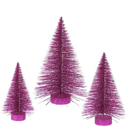 The Holiday Aisle 3 Piece Glitter Fat Christmas Tree Set