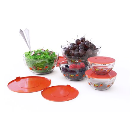 Glass Food Storage Containers with Lids- 20 Piece Set with Multiple Bowl Sizes By Chef Buddy (Fruit Design)