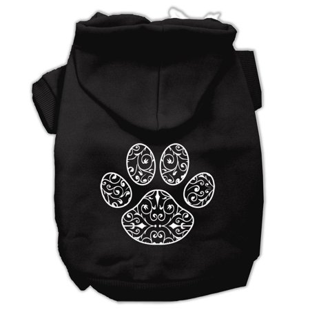 mirage 62 82 smbk henna paw screen print pet hoodie black size sm