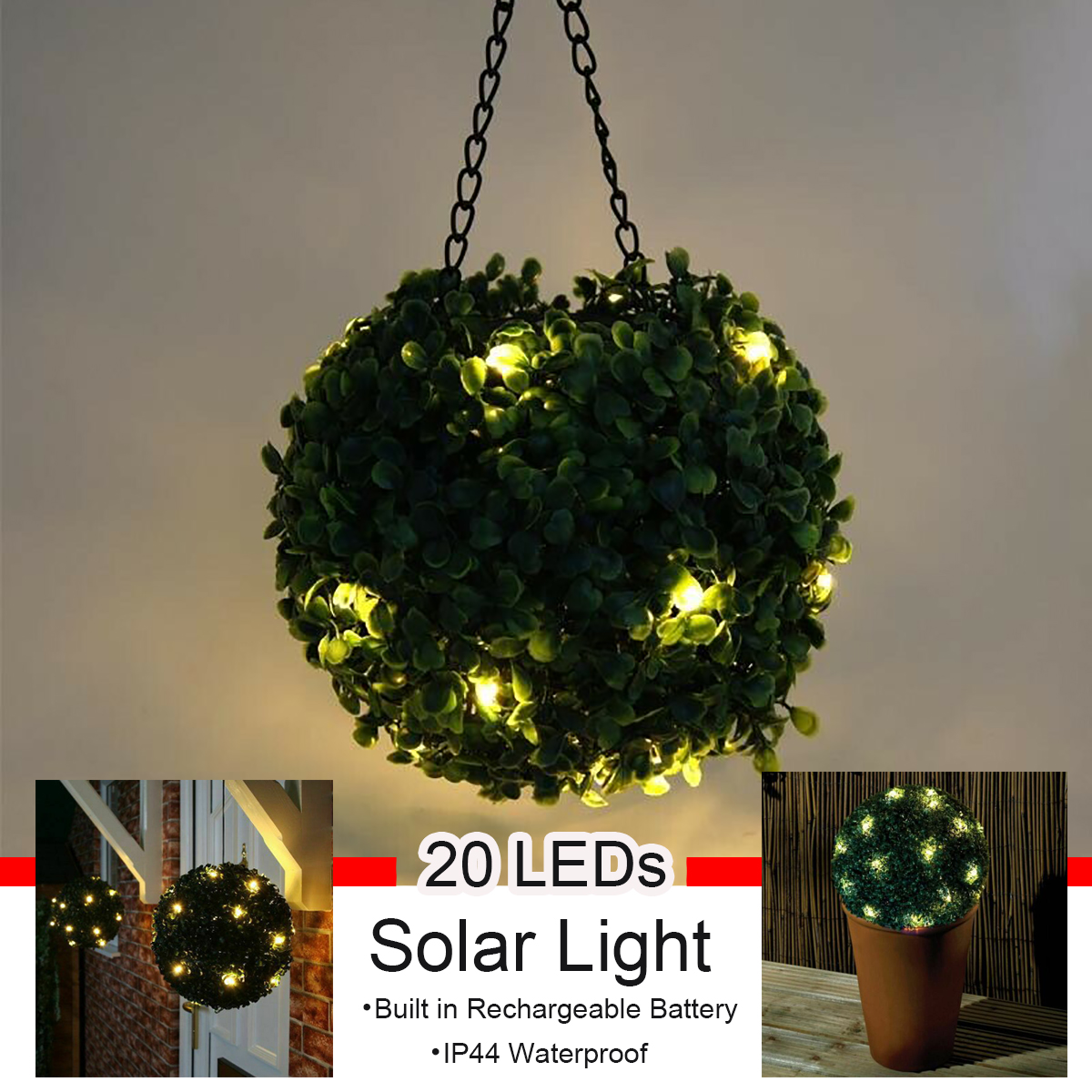 8inch Solar Led Topiary Ball Light Waterproof Solar Powered Led Light Artificial Topiary Plant Ball Outdoor Garden Warm White Lamp Wedding Party Home Decoration Walmart Canada