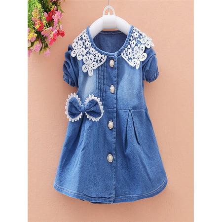 de995b0ab Toddler Baby Girls Bowknot Lace Long Sleeve Princess Denim Dress Outfits -  Walmart.com