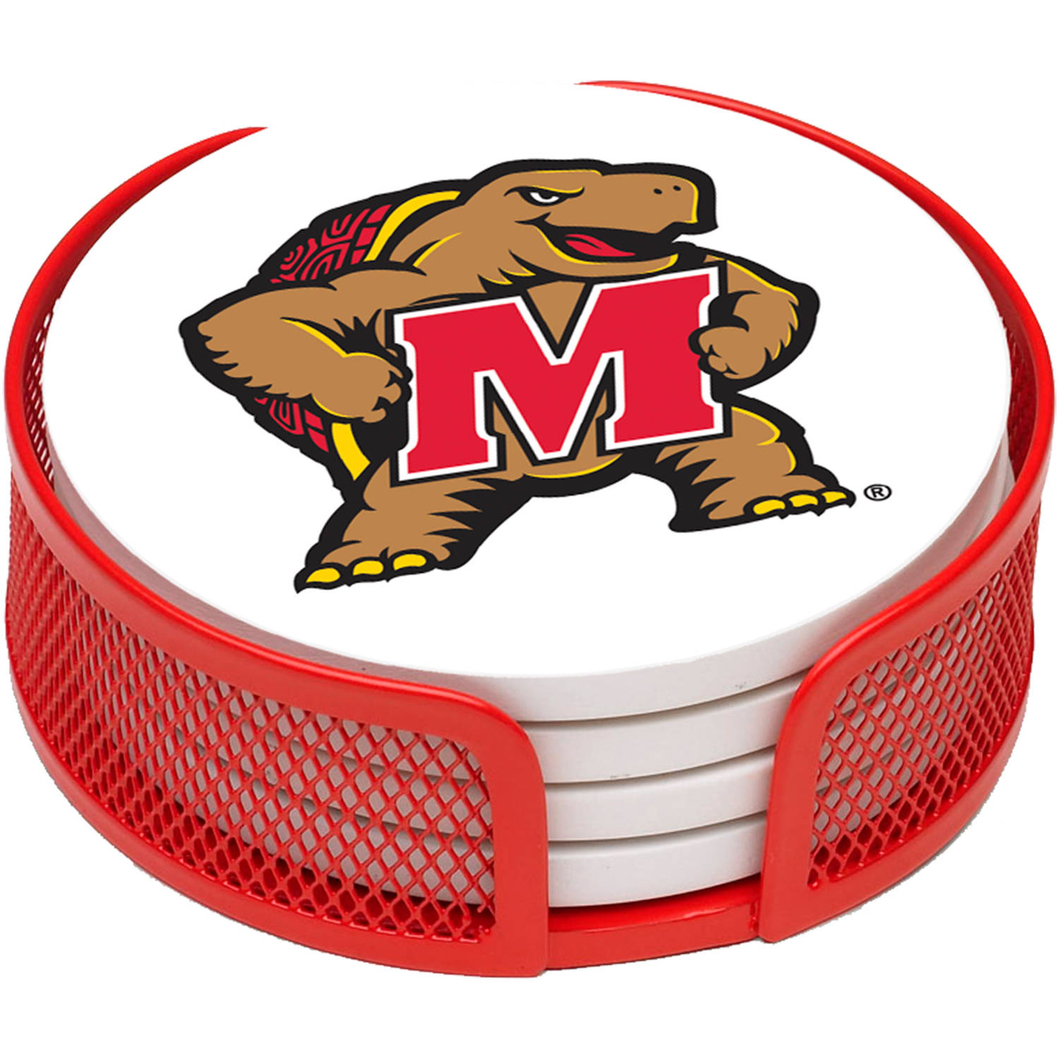 Stoneware Drink Coaster Set with Holder Included,, University of Maryland