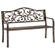 Best Choice Products Classic Metal Patio Garden Bench w/ Decorative Floral Scroll Design - Bronze