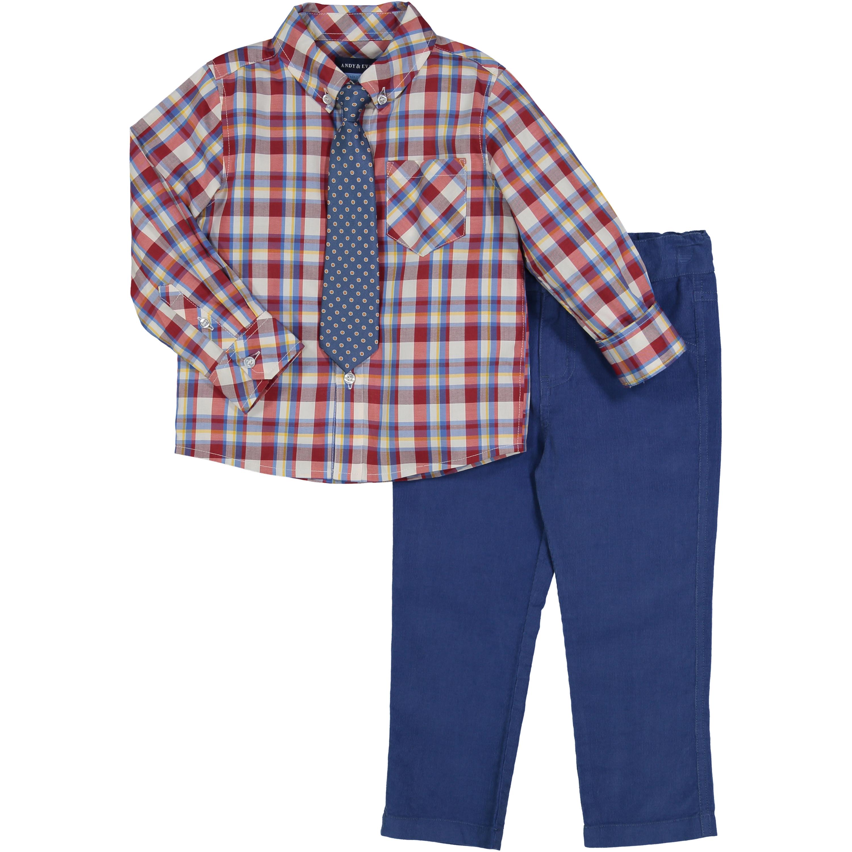 Boys Red Plaid Dress Shirt And Classic Dot Tie Set Walmart