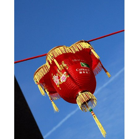 LAMINATED POSTER Blue London Chinese New Red Sky Year Lantern Poster Print 11 x