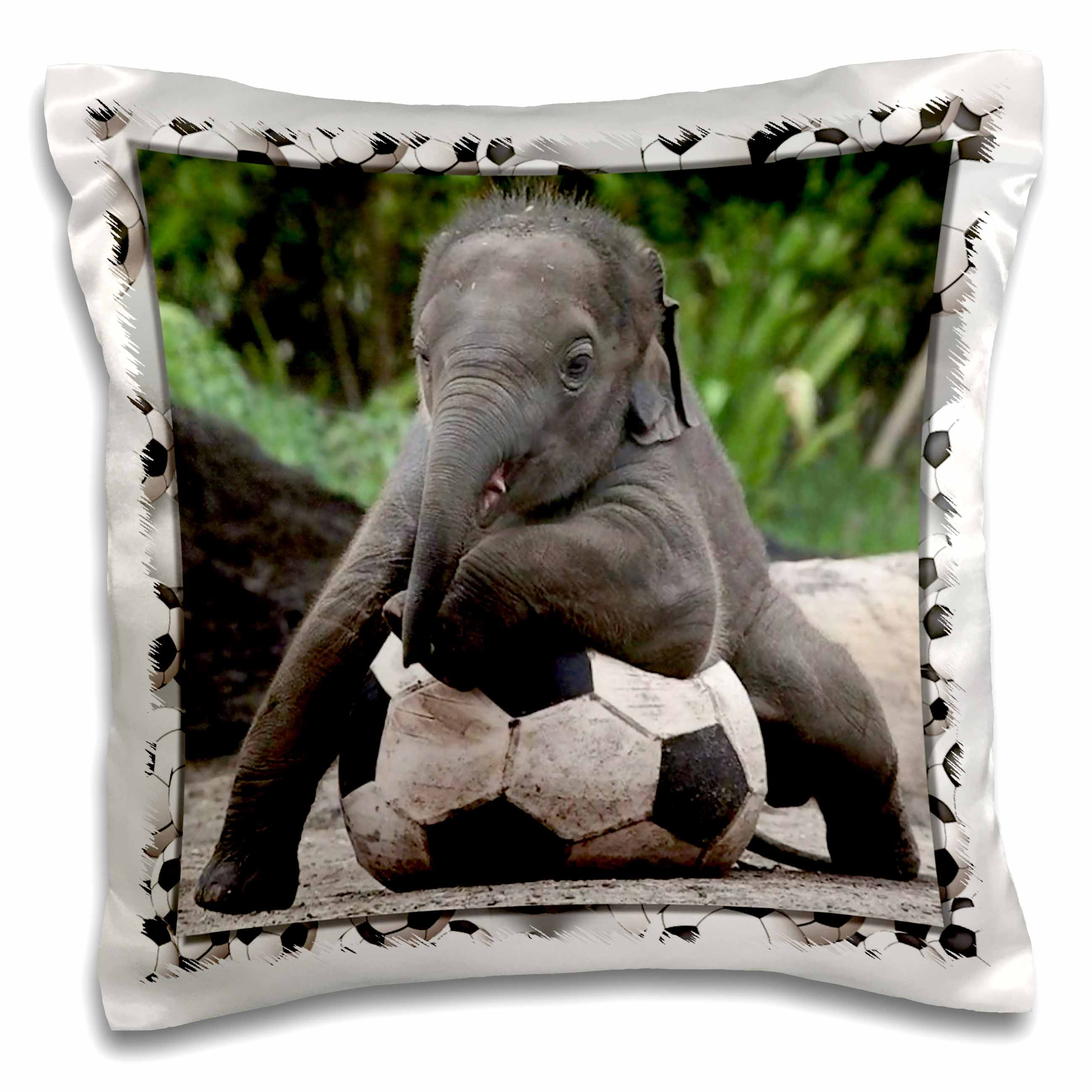 3dRose Elephant Soccer, Pillow Case, 16 by 16-inch