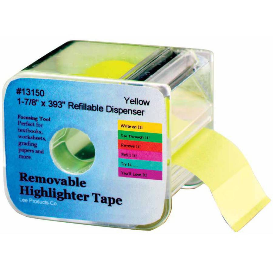 "Lee Products, Removable Highlighter Tape, 1.875"" x 393"", Yellow"