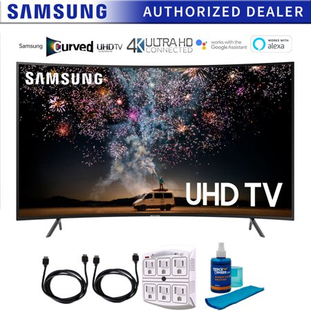 "Samsung UN55RU7300 55"" RU7300 HDR 4K UHD Smart Curved LED TV (2019 Model) with Cleaning Power Bundle Includes Screen Cleaner + 6-Outlet Surge Adapter + 2x 6ft High Speed HDMI Cable � Black"