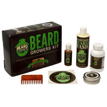 Ultimate Beard Growth Kit - Faster Growth with Beard Farmer Beard Gift Set  - Beard Kit Includes: All Natural Beard Oil, Beard Vitamins, Beard Balm,