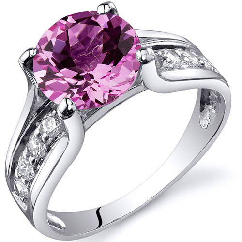 Oravo 2.75 Carat T.G.W. Created Pink Sapphire Solitaire Rhodium over Sterling Silver Ring
