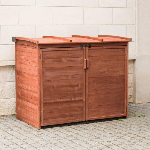 Leisure Season Large Horizontal Refuse Storage Shed, Medium Brown