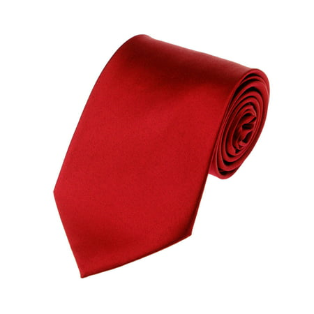 NYfashion101 Men's Solid Color Polyester Tie PS01-Red