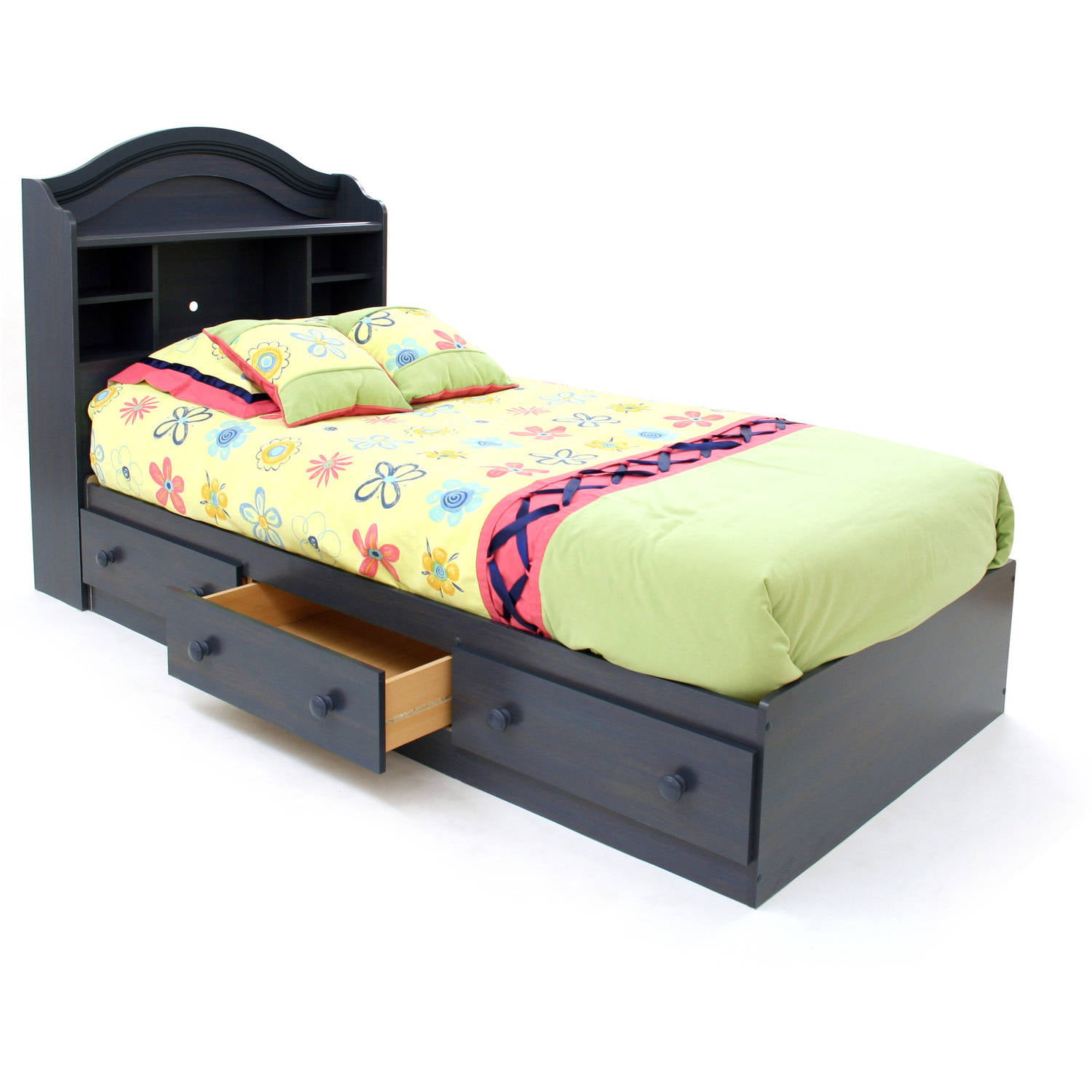 Twin bed with storage and headboard - South Shore Summer Breeze Mate S Bed With Storage Multiple Finishes Walmart Com