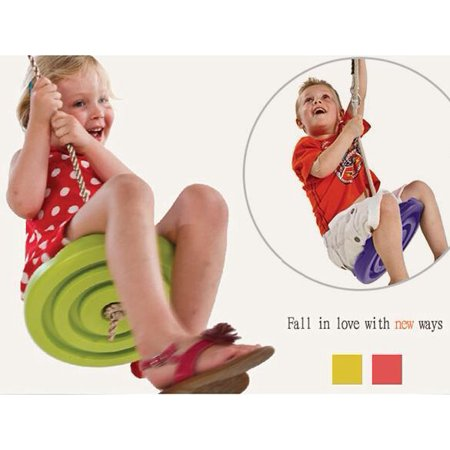 CLEARANCE! Kids Disc Swing Seat With High Strength Rope Outdoor Playground Red/Yellow SPHP