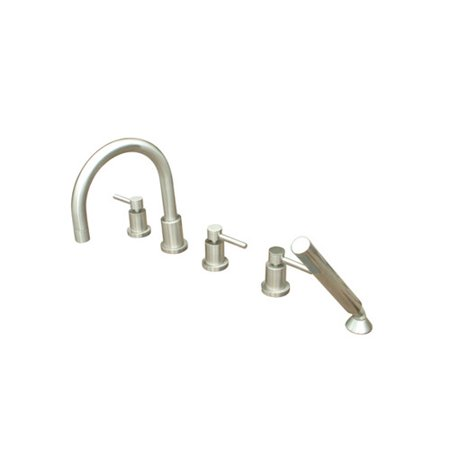 - Kingston Brass Concord Three Handle Roman Tub Faucet with Hand Shower
