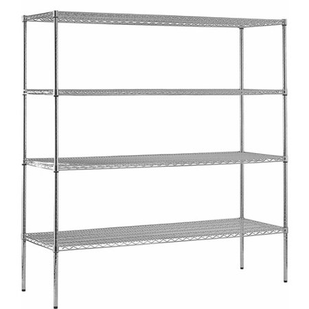 "Muscle Rack 18""D x 72""W x 86""H 4-Shelf Chrome Steel Shelving Unit"
