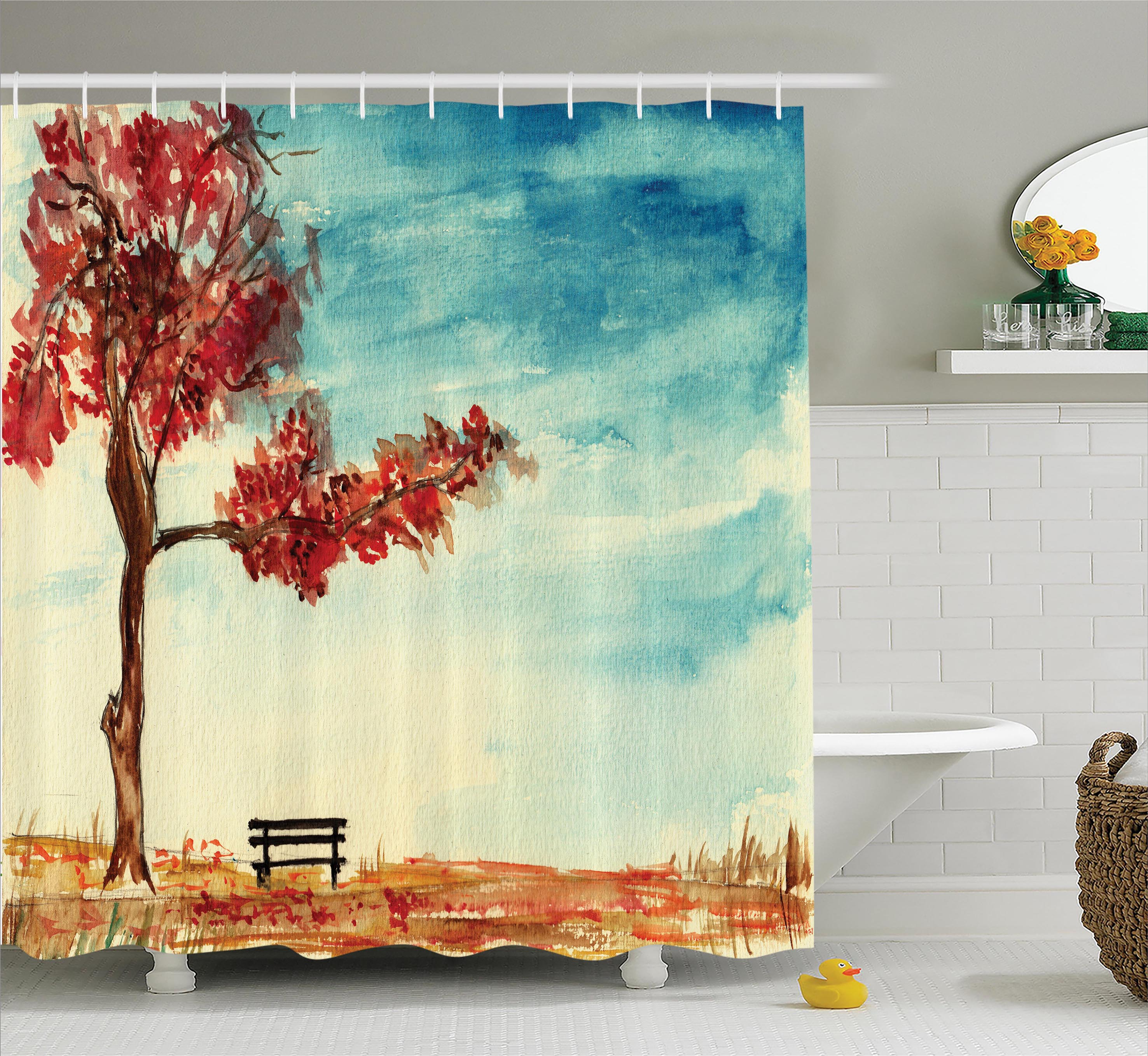 Farm House Decor Shower Curtain, Watercolored Tree and Bench Earth Ecological Protection for Future Image, Fabric Bathroom Set with Hooks, 69W X 75L Inches Long, Orange Blue, by Ambesonne