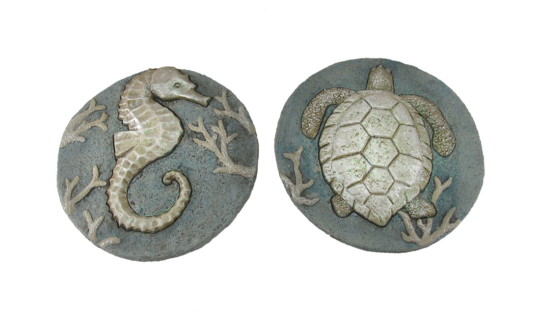 Set of 2 Seahorse and Sea Turtle Cement Garden Stepping Stones by J.D. Yeatts Imports