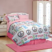 Veratex Peace and Love Microfiber Bed in a Bag Bedding Set