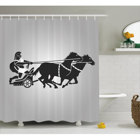 fdf6360987af Toga Party Shower Curtain, Mythological Chariot Gladiator with Horse  Traditional Greek Culture Image, Fabric Bathroom Set with Hooks, Dimgrey  Black, ...