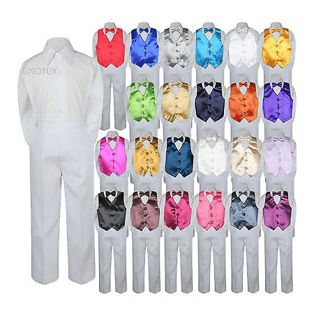 23 Color 4 Pieces White Set Vest Bow Tie Boy Baby Toddler Formal Tuxedo Suit S-7 - Pink Tuxedo