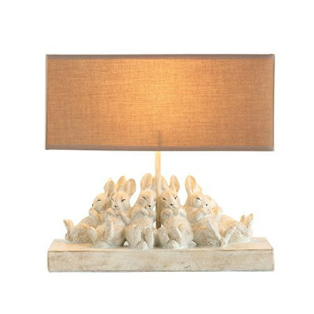 """Creative Co-op Whitewashed Rabbit Table Lamp with Sand-Colored Linen Shade 14"""" L x 5.5"""" W x 13"""" H - image 1 de 1"""