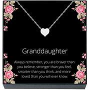 "Granddaughter Jewelry Heart Necklace Gift from Grandma, Grandpa, Grandparents,""Braver, Smarter, Stronger, Loved"" Jewelry for Girls, Teens, Women, Christmas, Stocking Stuffer (silver tone)"