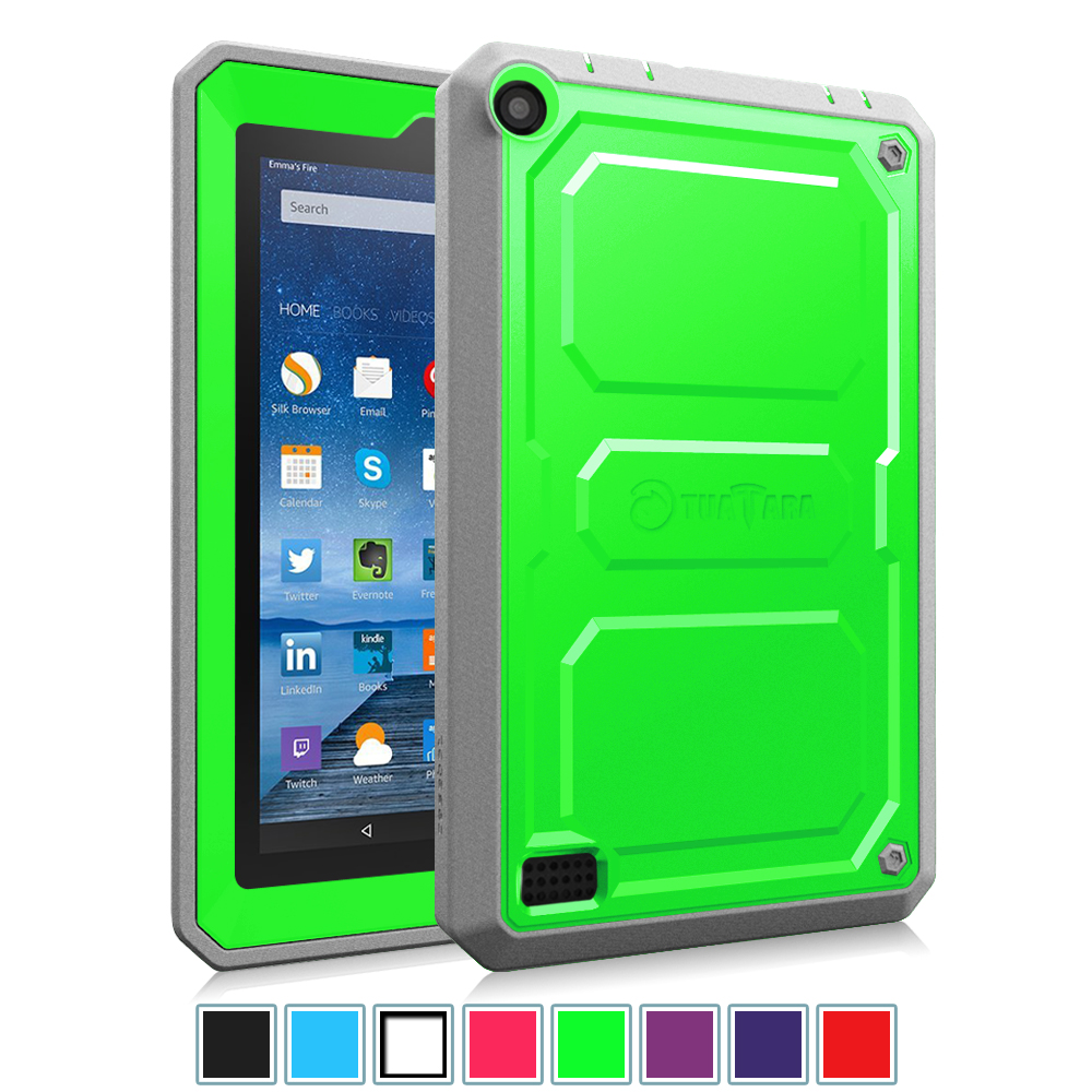 "Fintie Fire 7 2015 Case - Dual Layer Hybrid Full Protective Cover for Amazon Fire 7"" Display 5th Gen, Green"