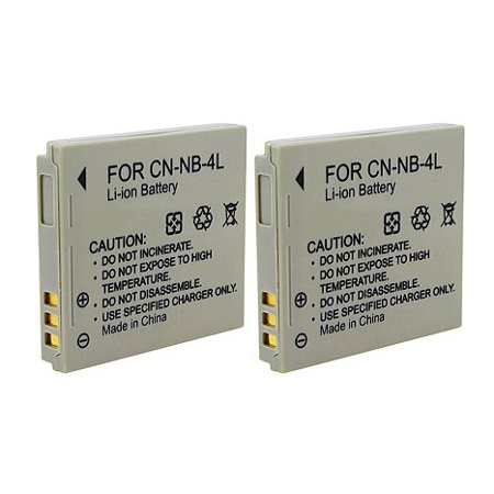 Canon External Battery Pack (Replacement 760mAh Battery For Canon NB-4L NB4L - 2 Pack)