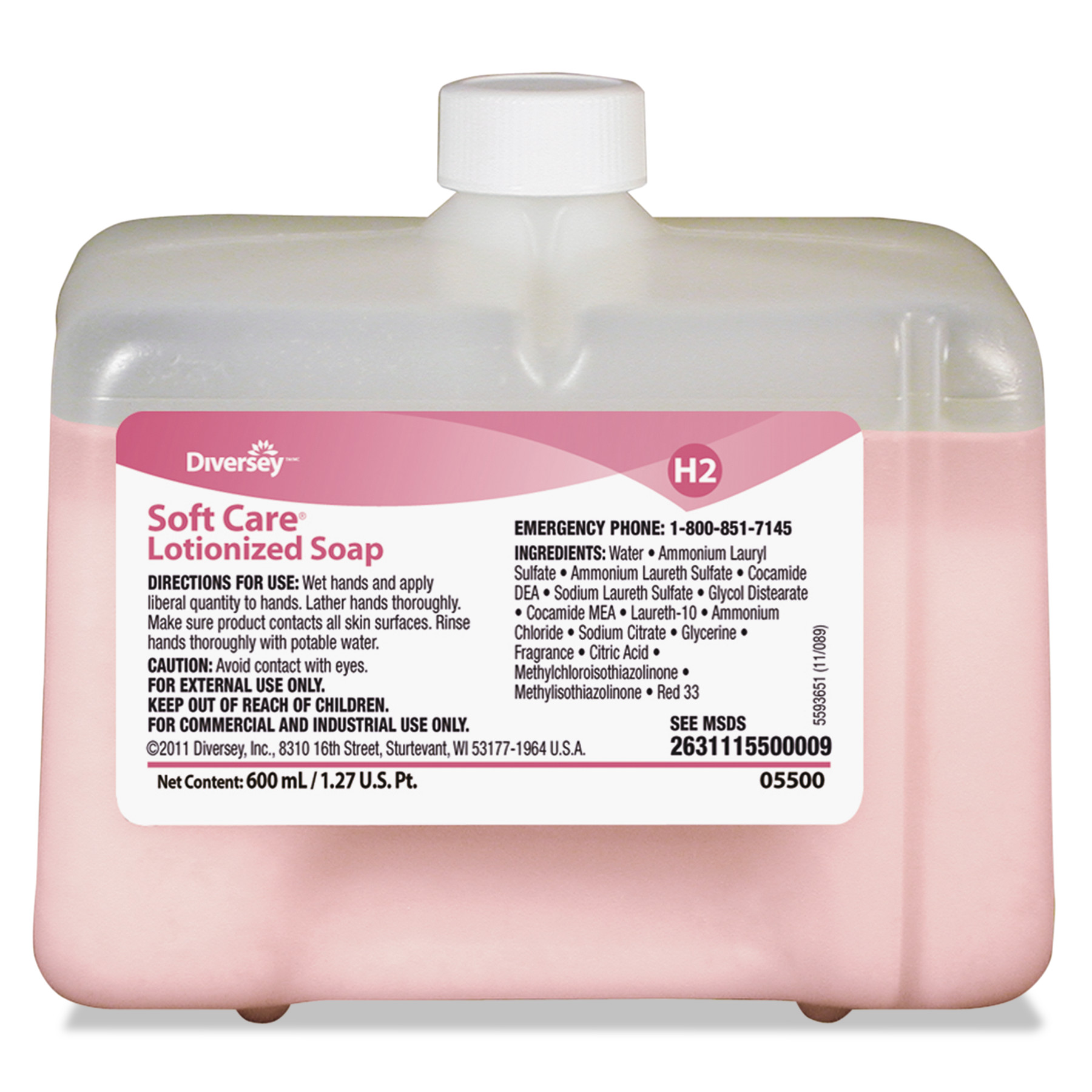 Diversey Soft Care Lotionized Hand Soap, 600 mL Cartridge, Floral Scent, 12/Carton