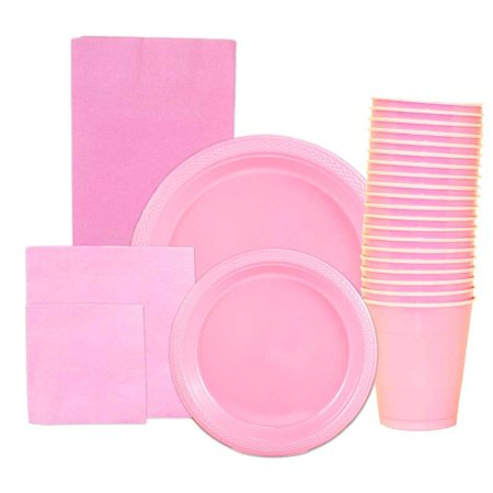 JAM Paper Party Supply Assortment Pack, Baby Pink, Plates (2 Sizes), Napkins (2 Sizes), Cups (1 pack) & Tablecloth (1 pack), - Party Tablecloths And Napkins