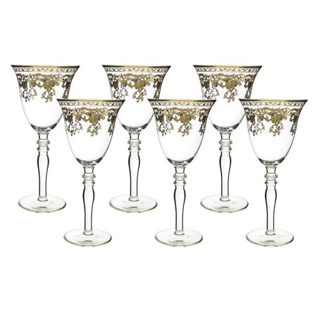 (D) Crystal Wine Stem Glasses with Gold Floral Decor 6-pc Set, Vintage Style Glassware ()