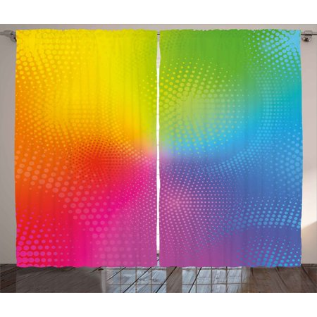 Iridescent Set - Rainbow Curtains 2 Panels Set, Vibrant Neon Colors Circles Rounds Dots Radiant Composition Iridescent Effect Print, Window Drapes for Living Room Bedroom, 108W X 90L Inches, Multicolor, by Ambesonne