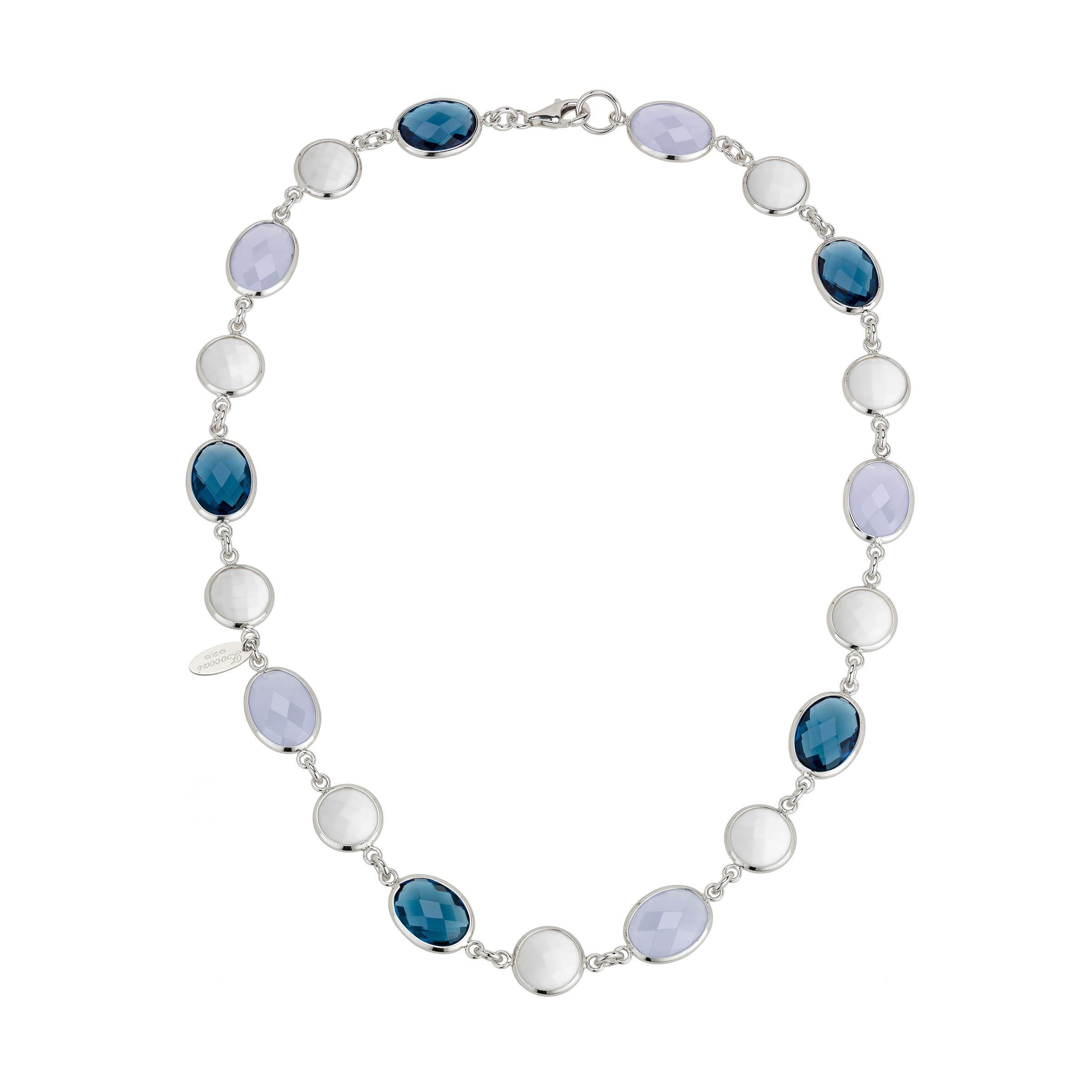 Zoccai 925 Agate, London Blue Topaz & Chalcedony Necklace in Sterling Silver by Richline Group