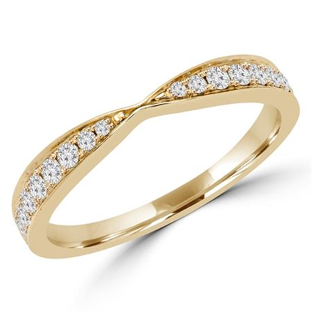 0.25 CTW Round Diamond Accent Wedding Anniversary Band Ring in 18K Yellow Gold, Size 5.75 - image 1 de 1