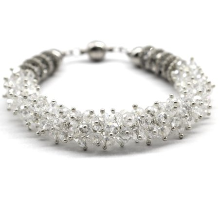 Man Made Crystal Sparkly Bling Shiny Dressy CZ Bracelet With Magnetic Ends in White