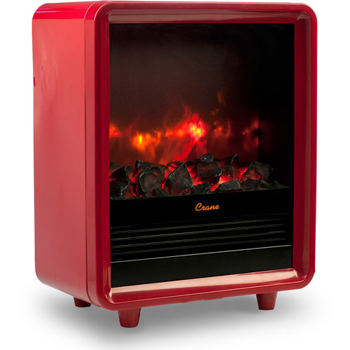 Crane Mini Fireplace Heater, Red EE-8075 R
