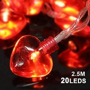 Valentine's Day Party Decorations, Valentine Heart Shaped String Light Battery Operated(82Ft, 20Llights, 8Modes) for Home Window Holiday Valentines Day Party Favors Supplies