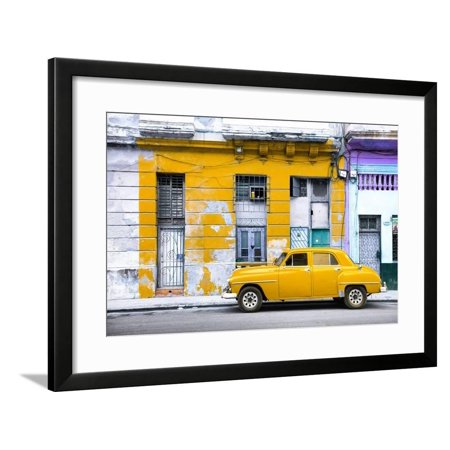 Cuba Fuerte Collection - Yellow Vintage American Car in Havana Framed Print Wall Art By Philippe (Havana Brown Pictures)