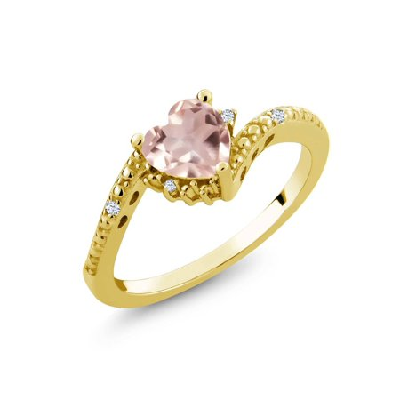 (0.73 Ct Rose Rose Quartz White Created Sapphire 18K Yellow Gold Plated Silver Ring)