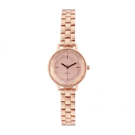 Covet  Women's 'Lola' Cut Crystal Silver Tone Bracelet Quartz Watch Rose-Tone At Cut Quartz Crystal
