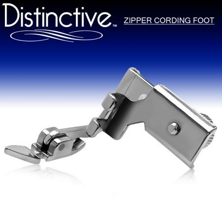 Distinctive Adjustable Zipper Piping Cording Sewing Machine Presser Foot - Fits All Low Shank Machines ()