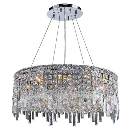 Brilliance Lighting And Chandeliers Glam Art Deco Style Collection 12 Light Chrome Finish Crystal Round Flush Mount Chandelier 24 D X 10 5 H Large